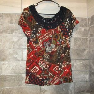 LUCKY BRAND WOMENS PRINTED BLOUSE SZ LARGE